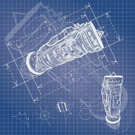 aerodynamics: blueprint style vector outline airplane engine plan