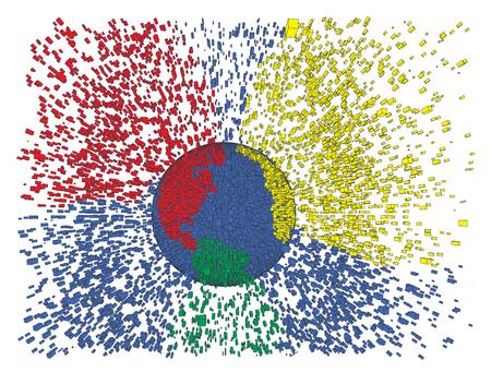 Bunte Erde spritzen abstrakte Vektor-Illustration. Globe Explosion. Tag der Erde, große Daten, die globale Erwärmung, die Globalisierung Idee. Peacfull Konzept freundliche Spielzeug Planeten. Standard-Bild - 54178420