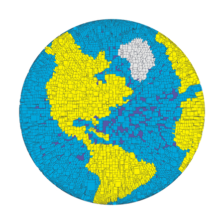 puzzle globe: 3D colored distorted globe of pixel bricks particles and wireframe. Futuristic vector illustration. puzzle element. Earth day, ecology splash or explosion concept Illustration