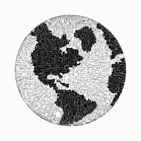 Black and white distorted globe of pixel bricks particles and wireframe. Futuristic vector illustration. puzzle element. Earth day, ecology splash or explosion concept Vettoriali
