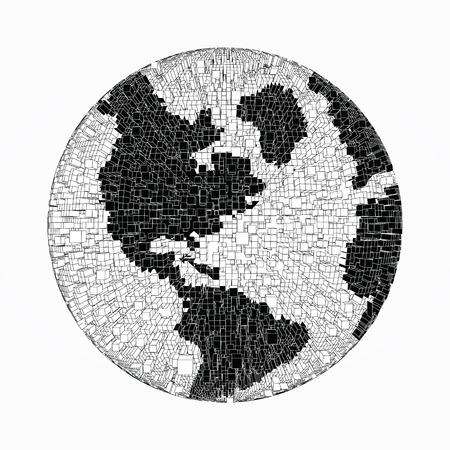 Schwarz-Weiß-verzerrte Kugel von Pixel Ziegel Partikel und Drahtgitter. Futuristische Vektor-Illustration. Puzzle-Element. Tag der Erde, Ökologie spritzen oder Explosion Konzept Standard-Bild - 54178425