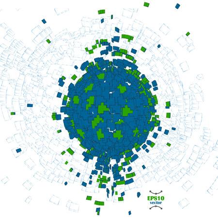 Abstrakt blau und grün 3D-Kugel Vektor-Illustration. . Globe Explosion. Tag der Erde. Große Datenkonzept. Erschaffung der Welt. Pixel. Blöcke, Ziegel Planeten Struktur. grünen Planeten Idee. Standard-Bild - 54178424