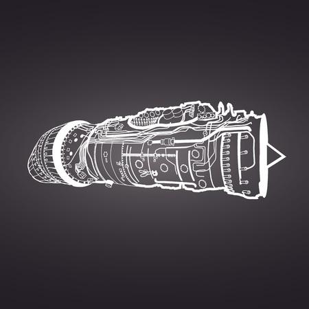 Blanco, vector, dibujo de combate de la fuerza aérea motor de aviones de combate, en el fondo negro. Consiste en la cámara de combustión, colector de admisión, álabes de guía, la presión del compresor, cámara de combustión, álabes de turbina Ilustración de vector