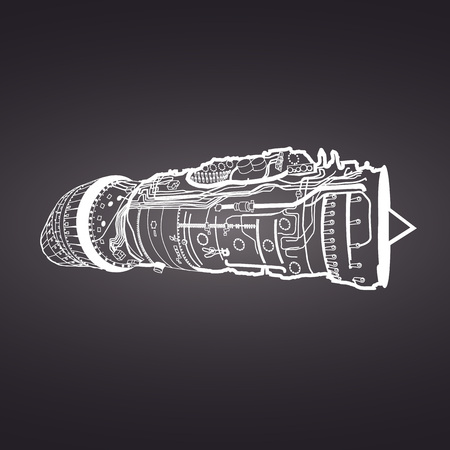 combustion chamber: White vector combat air force fighter aircraft engine drawing , on black background. Consists of combustion chamber, intake manifold, guide vanes, pressure compressor, combustor, turbine blade