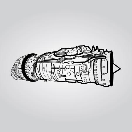 Schwarz Vektor Kampf Luftwaffe Kampfflugzeuge Motor Zeichnung auf weißem Hintergrund. Besteht aus Verbrennungskammer, Ansaugkrümmer, Leitschaufeln, Druckverdichter, die Brennkammer, Turbinenschaufel Standard-Bild - 54178430