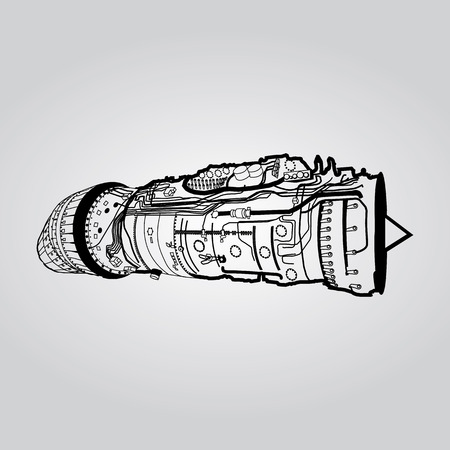 Black vector combat air force fighter aircraft engine drawing, on white background. Consists of combustion chamber, intake manifold, guide vanes, pressure compressor, combustor, turbine blade