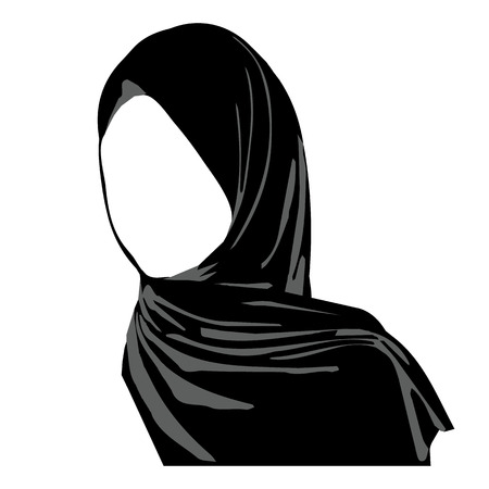 womens clothing: Hijab wearing logo. Islamic traditional clothes. icon of hijab. Eastern Womens Clothing logo. Arab headscarf. vector illustration hijab girl. Stock Photo