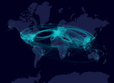 Aviation Airline Comunication Night Map Airline Flows Airline - Night map of us