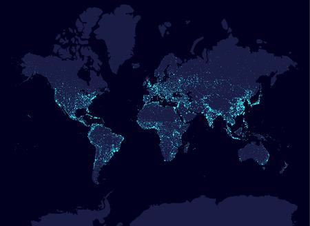 Terra di notte mappa del mondo, Earth Day concetto, la popolazione mondiale città più grandi. Glow elementi infografic. L'urbanizzazione e la globalizzazione idea. aqua neon luminanse. elementi Hud