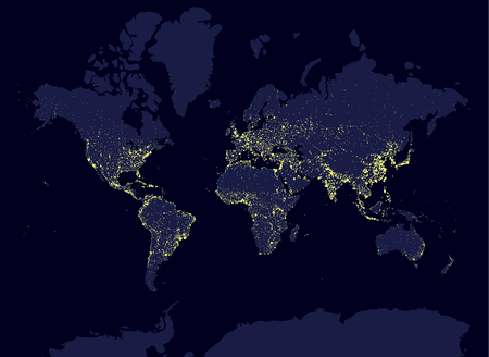 city by night: Earth at night world map, earth day concept, world population biggest cities. Glow infografic elements. Urbanization and globalisation idea. yello neon luminanse. Hud elements