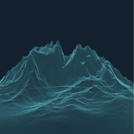 Cyberspace-Ansicht. Cyberpunk HUD-Elemente. Abstrakte Landschaft Hintergrund. Topographische Haltung Relief Gitter. Lowpoly Oberfläche. Hexagon-Struktur. Raum im Kosmos. Raumfahrttechnologien abstrakt Standard-Bild - 56152814