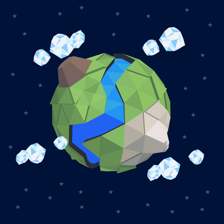 lanscape: Lowpoly abstract geomerty planet. Greenhouse effect. Ecology firendly planet. Safe secret liitle world. Small baby planet terrain. Abstract geometry lanscape. Perfect planet. EArth day save the planet
