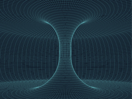 spacetime: Digital surface grid. Abstract cyber space funnel. 3d tube pipe corridor. Gravitational waves consept. Connection beetwen two worlds. Spatial  extension distortion.