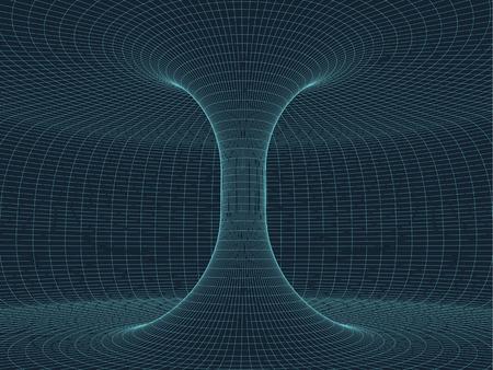 Digitale Oberflächengitter. Zusammenfassung Cyberspace Trichter. 3d Rohr Rohr Flur. Gravitationswellen Consept. Anschluss beetwen zwei Welten. Räumliche Ausdehnung Verzerrung. Standard-Bild - 56152817