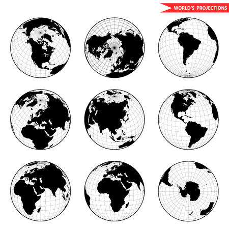 longitude: Set of different globe hemishpere. World view from space icon.