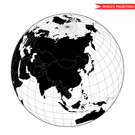China globe hemisphere. World view from space icon. Illustration