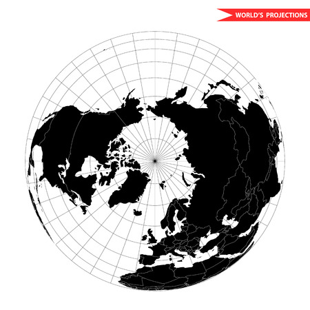 Arctic pole globe hemisphere. World view from space icon. Illustration