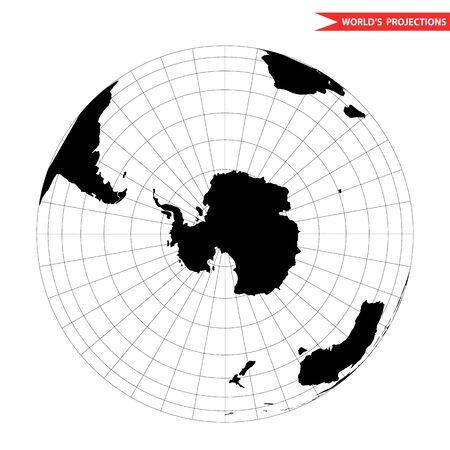 Antarctida globe hemisphere. World view from space icon