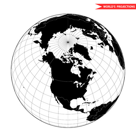 meridian: USA globe hemisphere. World view from space icon. Illustration