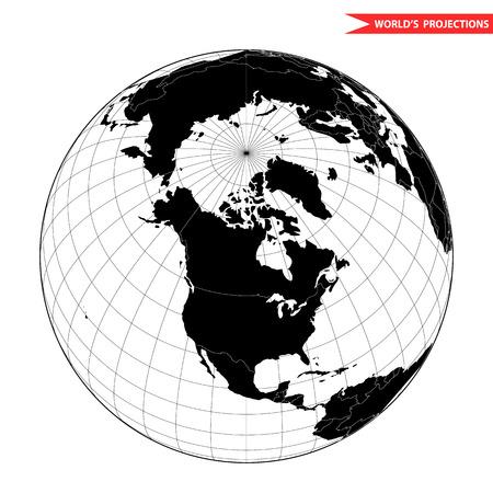 azimuth: USA globe hemisphere. World view from space icon. Illustration