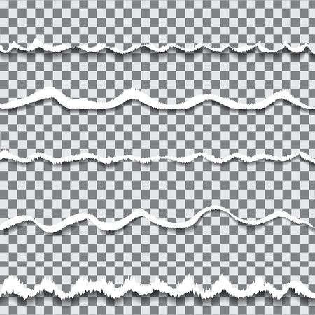 transparent torn paper tamplates. Scrap piece of paper. Rough edge of document. Piece of paper on transparent background illustration Иллюстрация