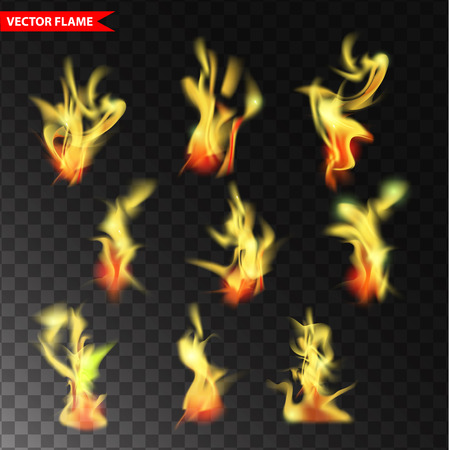 Set of transparent flame . Realistic fire design elements
