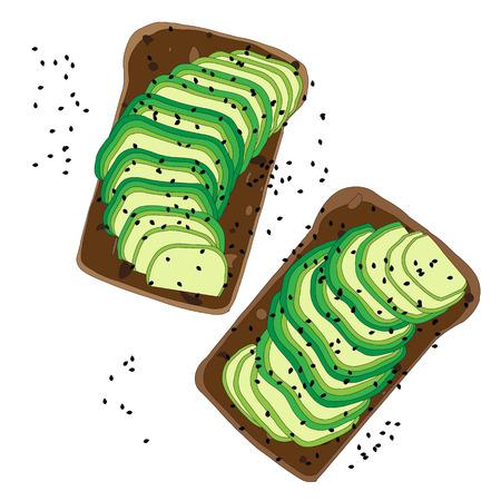 aguacate sándwich detallado sobre fondo blanco. Ilustración de pan tostado vegetariano para el desayuno o el almuerzo.