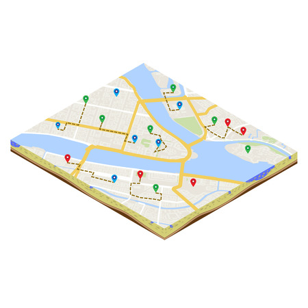 A isometric citymap of an imaginary city with destinations between districts. Urban mobile navigation illustration. City plan geomarketing consept.