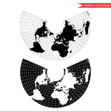 Albers equal area conic projection. Black and white world map with countries and borders. Earth plannar map. Vectores