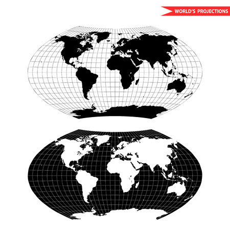 Aitoff world map projection. Black and white world map illustration.