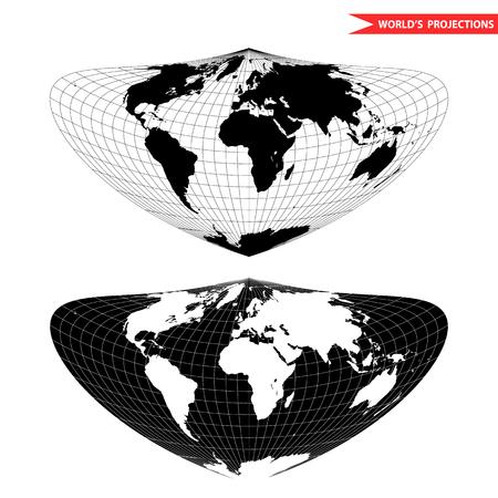 Bonne world map projection. Black and white world map illustration.