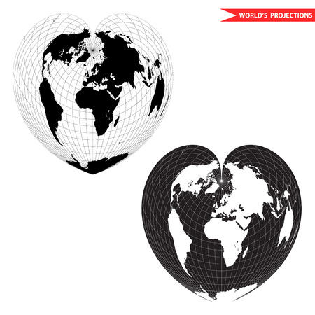 Black and white heart-shaped planet illustration. Bonne pseudoconical equal area world map projection. Heart shape world map.