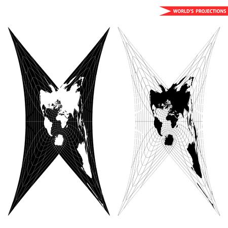 Cassini world map projection. Black and white world map illustration.