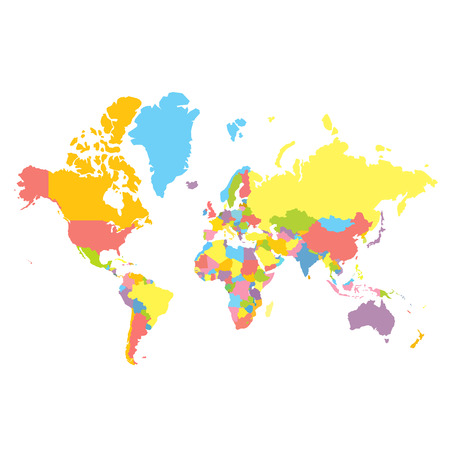 Colorfull political world map on white background. Each country colored in different color. Flat style mercator projection