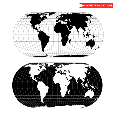 azimuth: Becker world map projection. Black and white world map illustration. Illustration