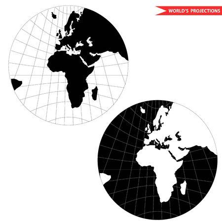 gonomic world map projection. Black and white world map illustration.