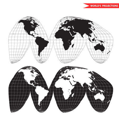 Goode homolosine projection. Orange peel world map on white background. Interrupted earth globe. Иллюстрация