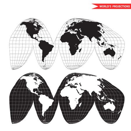 Goode homolosine projection. Orange peel world map on white background. Interrupted earth globe. Stock Illustratie