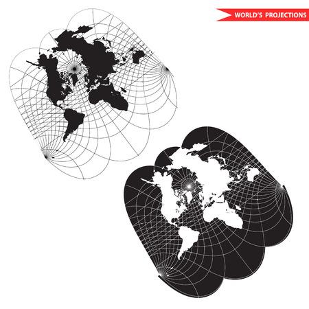 azimuth: obliqe world map projection. Black and white world map illustration.