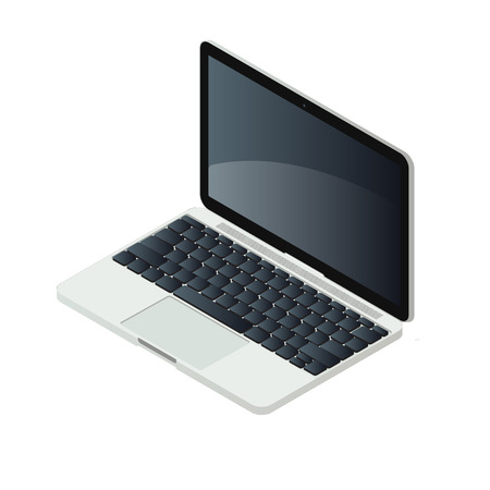 trackpad: Isometric laptop pc isolated on white background illustration. Elegant aluminium computer with modern design. Keyboard, trackpad and lcd screen elements.