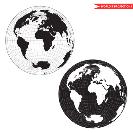 Lambert azimuthal equal-area world map projection. Black and white world map illustration.