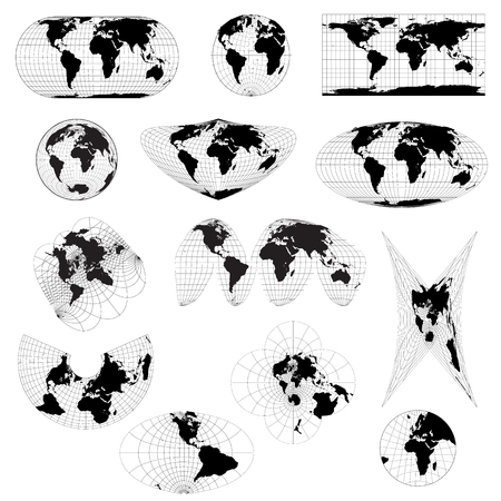 Set of different world projections. World view from space icon. Illustration