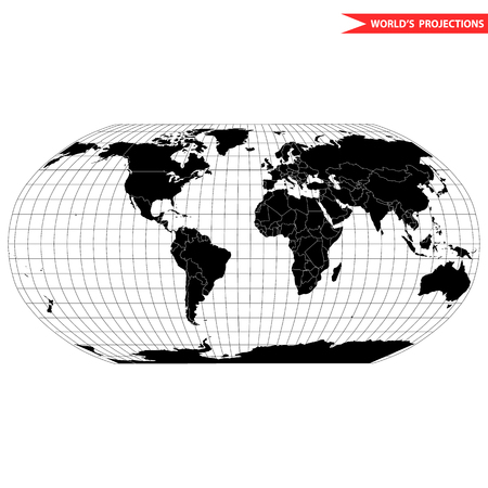 Robinson map projection of a world map which shows entire world at e as a flat image. Black and white world map illustration