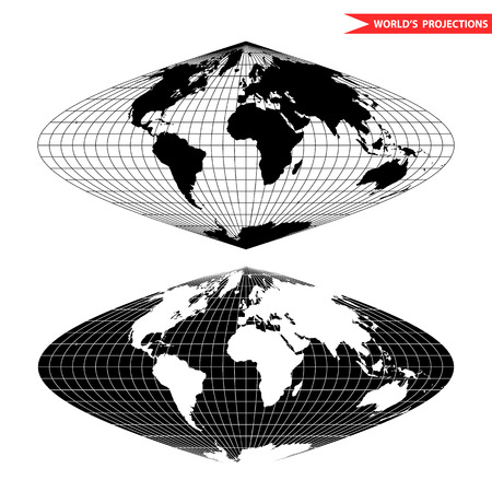 meridian: The sinusoidal  pseudocylindrical equal-area world map projection. Black and white world map illustration. Illustration