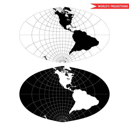azimuth: oval world map projection. Black and white world map illustration.