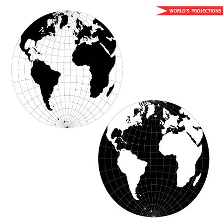 spherical world map projection. Black and white world map illustration.
