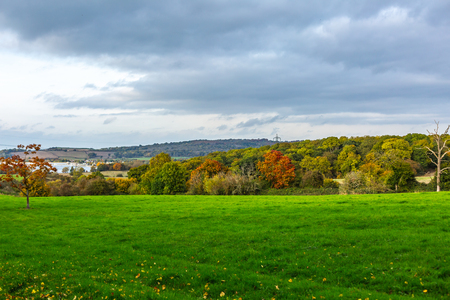 Picturesque landscape of green rural field with autumnal trees under gloomy sky, Oxford, United Kingdom Banque d'images