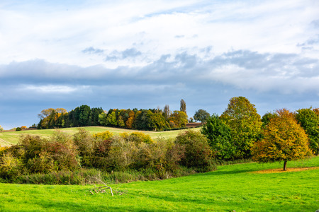 Countryside green field with autumnal trees on background of gloomy sky, Oxford, United Kingdom