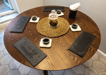 empty table served for japanese food, soy sauce, shale plate, seaweed Banque d'images