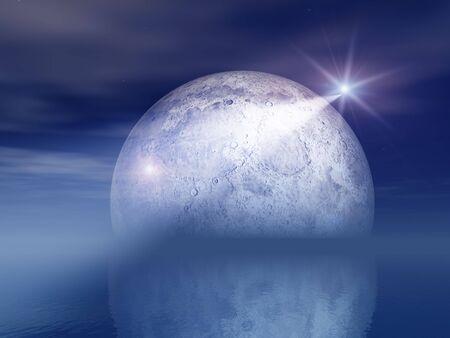 Night Shooting Star and Moon Over Sea  Stock Photo